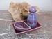 Olie karaf de Luxe met scrub bakje en schaal kleur Violet Per setje